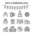 party celebration icon set in thin line style vector image vector image
