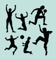 people sport male and female action silhouette vector image vector image