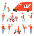 pizza delivery characters van and motorcycle or vector image vector image