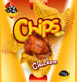 potato chips chicken flavor design packaging 3d vector image