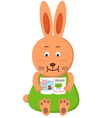 rabbit reading vector image vector image