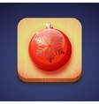 Red christmas ball on a wooden stand Icon IOS vector image