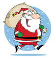 Santa Claus Runs With Bag vector image vector image