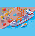 seaport isometric composition vector image vector image