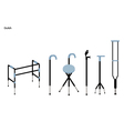 Set of Crutches and Walkers on White Background vector image