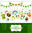 set of icons of saint patrick s day flat style vector image