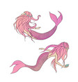 set of pink mermaids mythical sea creatures vector image vector image