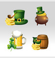 set st patrick celebration with hat and coins vector image
