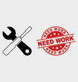 setup tools icon and grunge need work vector image vector image