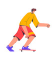 skateboarder rides and listens to music young man vector image vector image