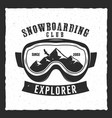 snowboarding goggles extreme logo and label vector image vector image