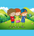 three kids taking selfie in the park vector image