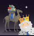 three kings selfie with king melchior camel and vector image vector image