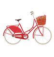 Vintage ladies bicycle with wicker basket vector image vector image