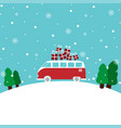 winter gift bus vector image vector image