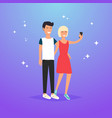 young couple taking a selfie with phone cartoon vector image