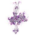 ballerina with floral ornament dress vector image