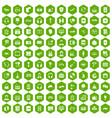 100 headphones icons hexagon green vector image vector image