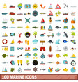 100 marine icons set flat style vector image vector image