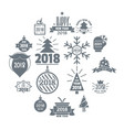 2018 new year logo icons set simple style vector image vector image
