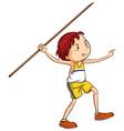 A boy throwing a stick vector image vector image