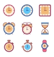 Alarm clock timer watch flat icons vector image vector image