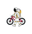 an astronaut pushing a bicycle vector image