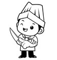 black and white chef mascot is holding a kitchen vector image