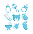 blue baby shower icons vector image vector image