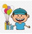 boy balloons gifts vector image