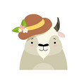 bull in a hat with flowers cute cartoon animal vector image vector image