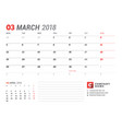 calendar template for march 2017 business planner vector image vector image