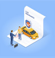 car insurance services businessman shaking hand vector image vector image