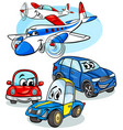 cars and planes group cartoon vector image vector image