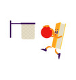 cartoon book character basketball slam dunk vector image