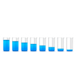 Chemical beakers with gradation of blue solution o vector image vector image