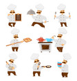 chief or cook in uniform menu board and cooker vector image