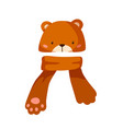 childish hat with cute bear muzzle and scarf