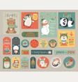 christmas cards and gift tags set with animals vector image