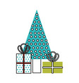 christmas decorated tree and gift boxes for vector image