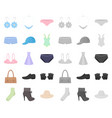 clothes and accessories cartoonmono icons in set vector image vector image
