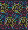 colorful pattern with hand drawn round spirals vector image vector image