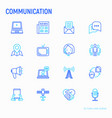 communication thin line icons set vector image vector image