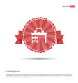 computer table icon - red ribbon banner vector image