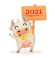 cute cow cartoon character chinese new year vector image vector image