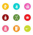 dote icons set flat style vector image