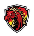 dragon head mascot in shield vector image