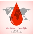 Drop of Red Blood over World Map vector image vector image