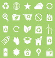 Ecology icons on green background vector image vector image