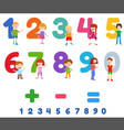 educational numbers set with cute children vector image